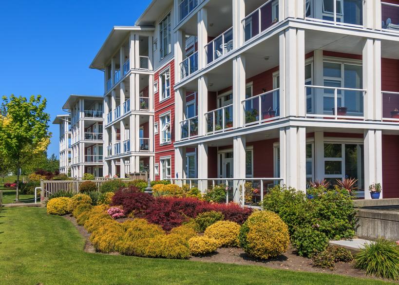 Modern apartment buildings image