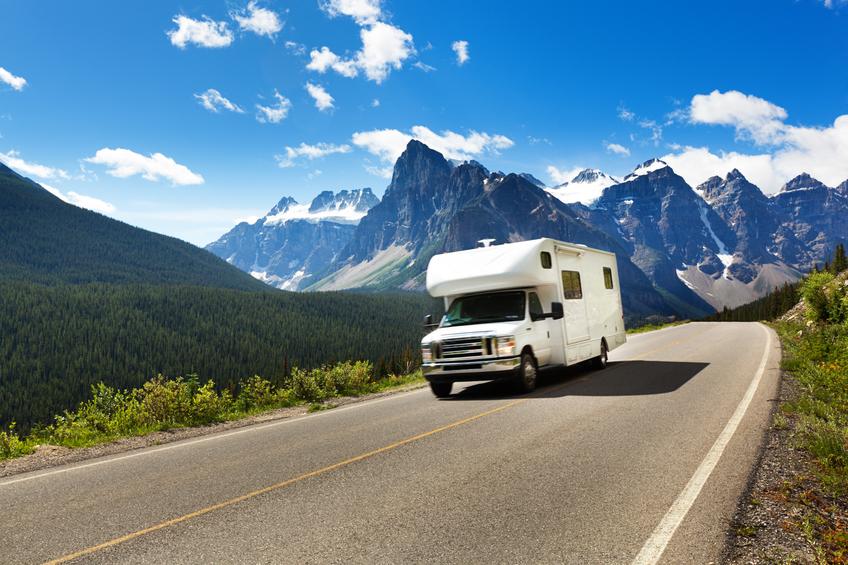 Motor home on a road trip tour through Banff National Park, Canada.