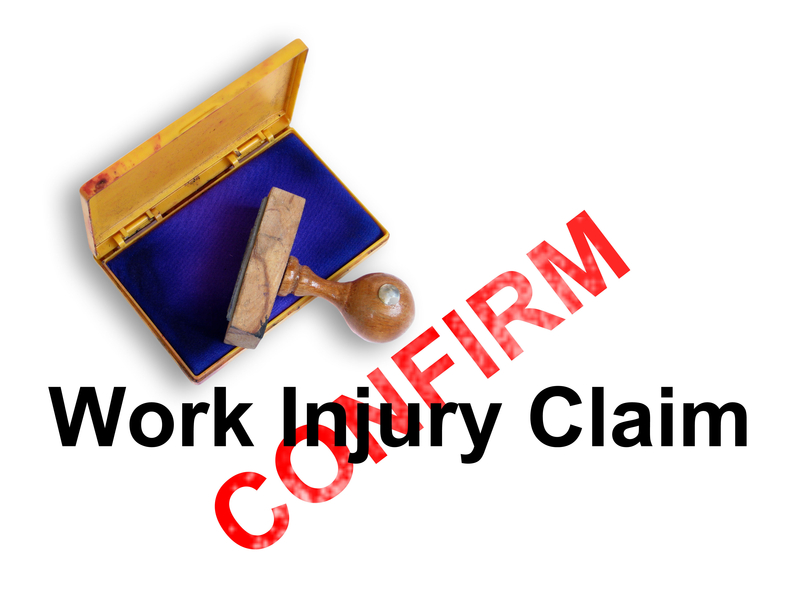 "Workers' Comp image of a rubber stamp saying ""Work Injury"""